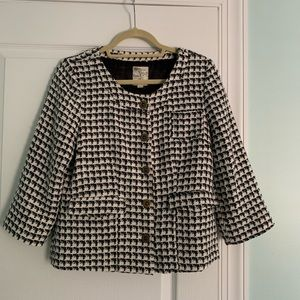 Tulle houndstooth jacket, 3/4 sleeve, size L